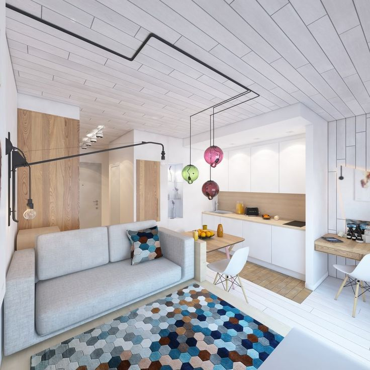 Компактный дизайн квартиры студии 24 кв м