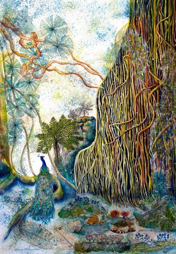 """""""Curtains of Rainforests"""" by artist Donna Maloney. See her art in the Painter's Showcase at www.ArtsyShark.com"""