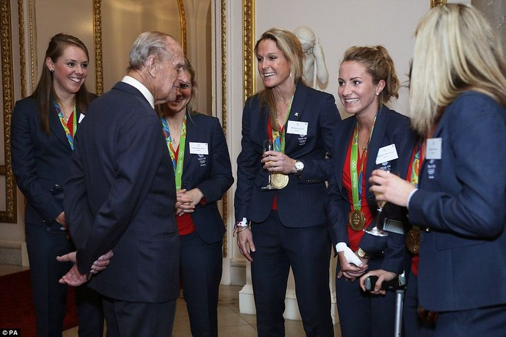 Prince Philip also seemed to enjoy speaking to the Team GB women's hockey team at the rece...