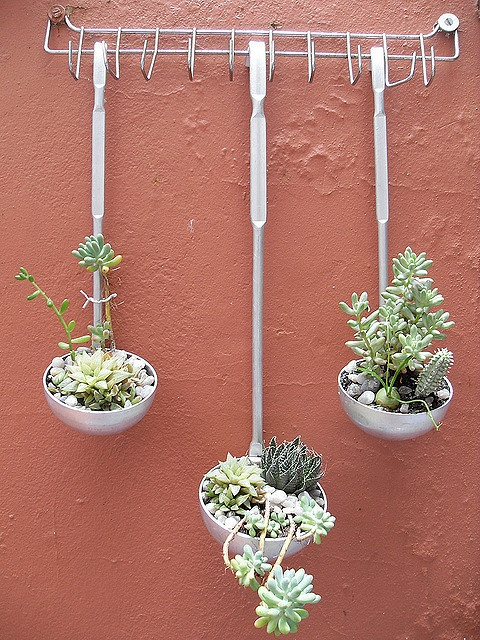 """Lovely idea for succulents!     """"The handmade DIY picked up what are the flowers, even the rice spoon""""   or, from google translate: """"Pick up what is spent, even rice spoon"""""""