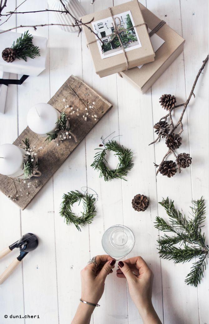 Bastel Ideen Tannenzweige Weihnachten skandinavisch