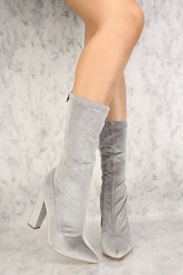 7d6365f8efb Sexy Grey Metallic Textured Chunky High Heels Booties Velvet | Shoes ...