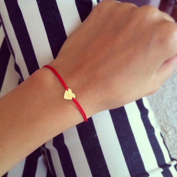 14K SOLID Gold Heart bracelet Make a wish Bracelet red by Ingriko