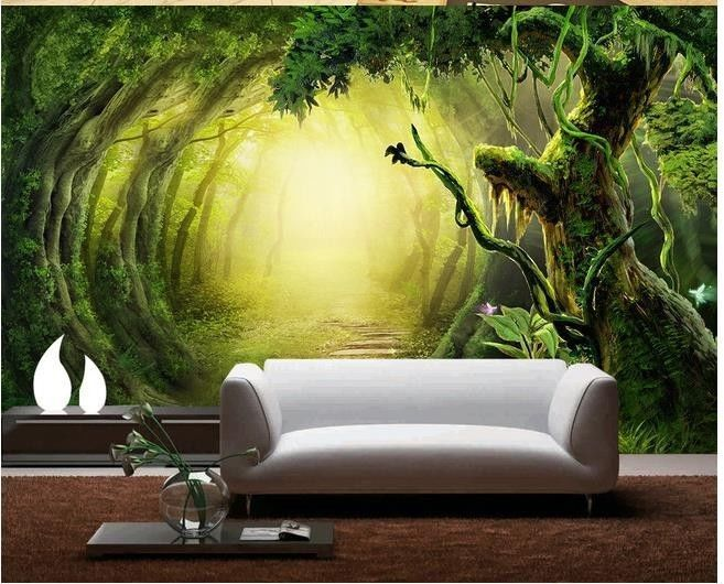 3d wallpaper bedroom mural modern fantasy forest trail for Modern 3d wallpaper for bedroom