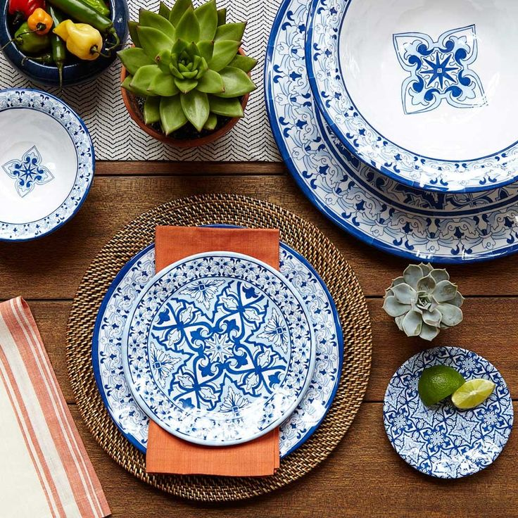 Blue & White Melamine Dinnerware reminiscent of old world pottery from the medieval city of Talavera, Mexico. Beautiful tile patterns decorate these textured melamine pieces in beautiful blues. Durable and shatterproof - perfect for indoor or outdoor entertaining. Dishwasher safe (top and bottom rack).: