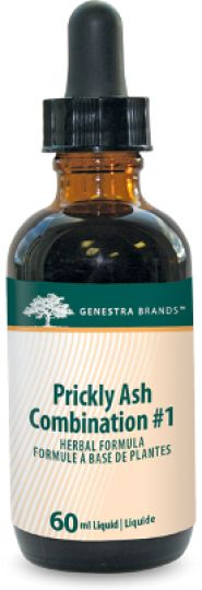 Prickly Ash Combination #1 by Genestra - provides a combination of Prickly ash, Ginkgo, Canada Fleabane, Yarrow, Cayenne, Cranesbill and Horsetail in a convenient liquid format. Prickly ash bark has been traditionally used for cramps, chronic rheumatic conditions and specifically for peripheral circulatory insufficiency associated with rheumatic symptoms
