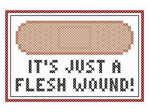 "Monty Python Inspired ""It's Just a Flesh Wound"" Cross Stitch Chart"