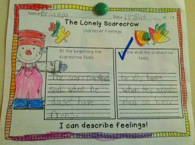 First Grade Fabulous Fish - The Lonely Scarecrow - Characters Feelings {Freebie}