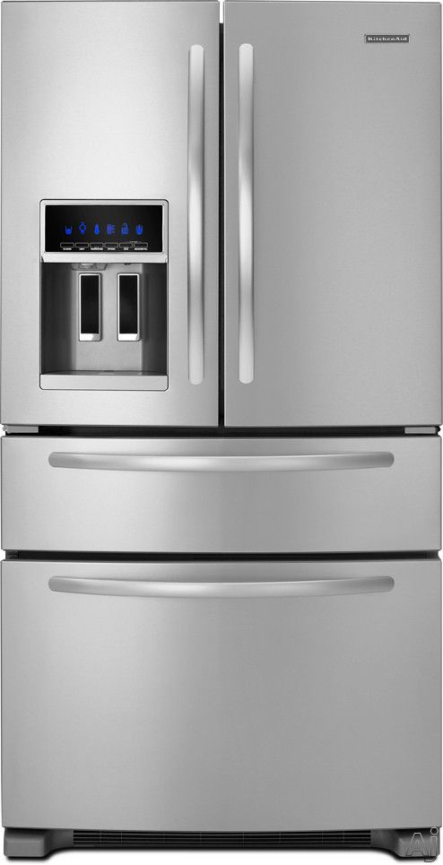 Kitchen Aid Four Door French Door Refrigerator, Cu.ft, With Pill Shield  Glass Shelves, Through The Door Ice/Water Dispenser, FreshVue Refrigerated  Drawer ...