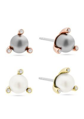 Michael Kors Women Stainless Steel Modern Classic Pearl Stud Set - 2 Tone - One Size