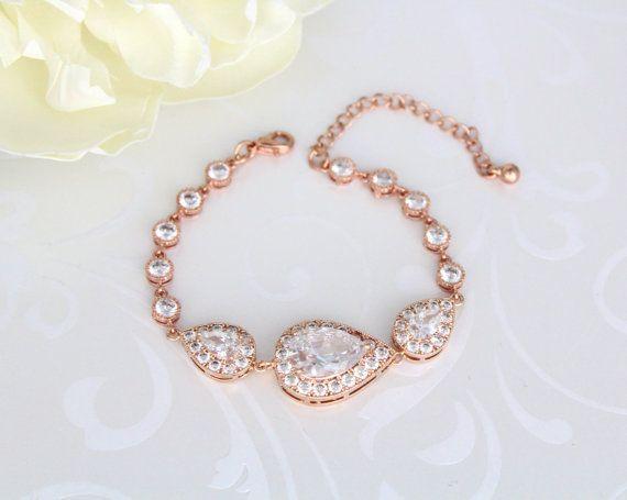 Rose Gold Bridal bracelet Wedding jewelry Crystal Wedding