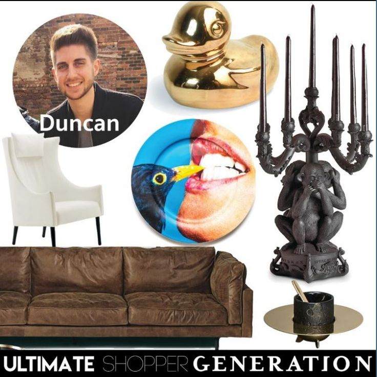 Duncan chose a quirky combination of pieces, starting with the Goldies duck, Burlesque candelabra, and Diesel Cosmic diner espresso cup set, all by Seletti. He added a classic Square 16 sofa in tabacco soft touch leather  as well as the Tondo armchair in White both by e Padova and added a little bit of art witha  Seletti Wears Toiletpaper blackbird ceramic plate.  All available on our website