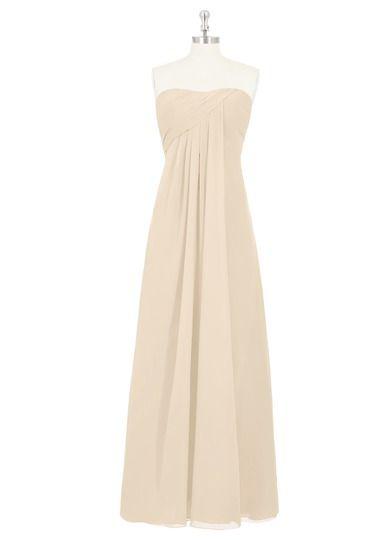 AZAZIE ELISE. The fantastic floor-length bridesmaid dress by Azazie has an empire cut in a beautiful chiffon. #Bridesmaid #Wedding #CustomDresses #AZAZIE