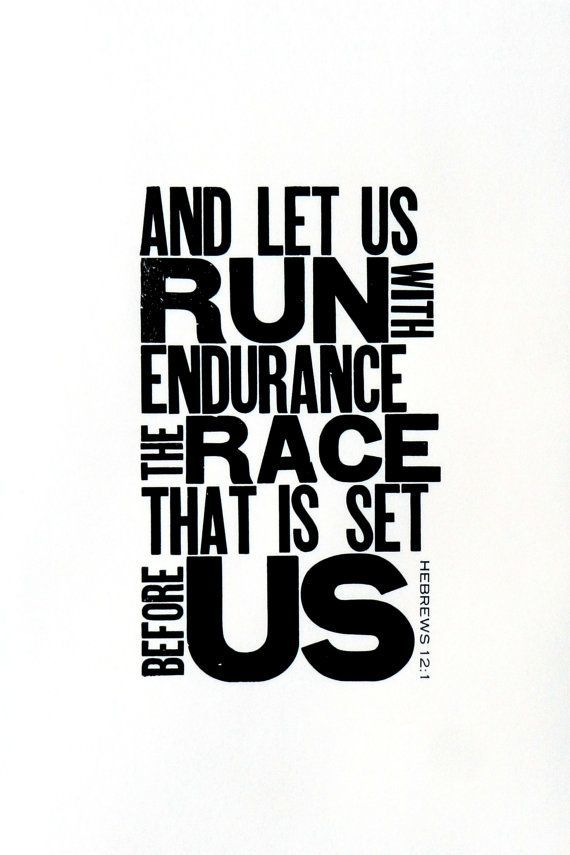 Running Themed Art, Black and White Letterpress Poster, Motivational Print for Runner, Religious Bible Verse, Gift for Runner, 11 x 17 on Etsy, $24.00