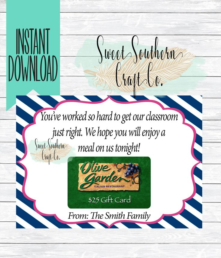INSTANT DOWNLOAD***Back To School Teacher Restaurant Gift Card Printable,5X7,Teacher Appreciation,Back to School Teacher Gift,Gift Card DIY by SweetSouthernCraftCo on Etsy