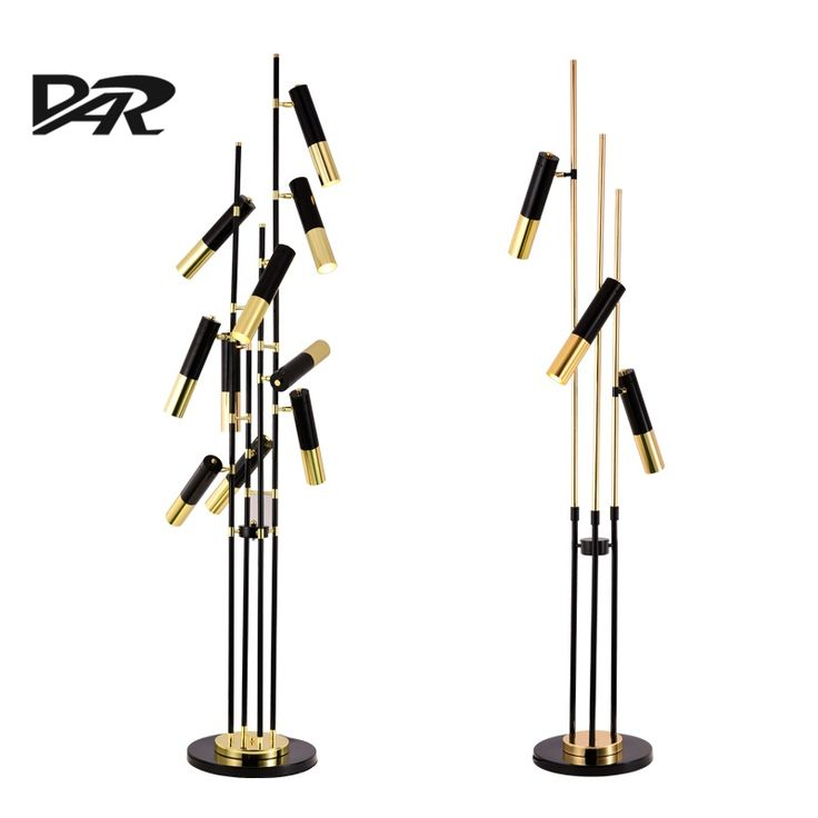 Nordic Creative Design LED Floor Lamp Black&Gold Adjustable Head High Quality Standing Lamp Lambader Lampadaire De Salon Fashion
