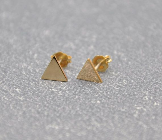 14k Yellow Gold Filled Small Triangle Earrings  by MyveraDesign