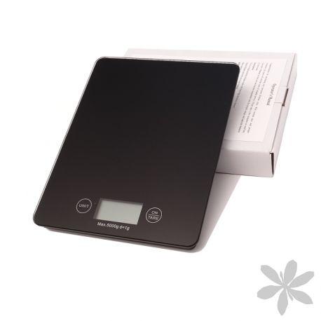 """""""BLACK"""" Balanza de precisión de color negro y pantalla LCD, con capacidad máxima de 5kg, especial para controlar el peso de los ingredientes de tus recetas. (Pila incluida)."""