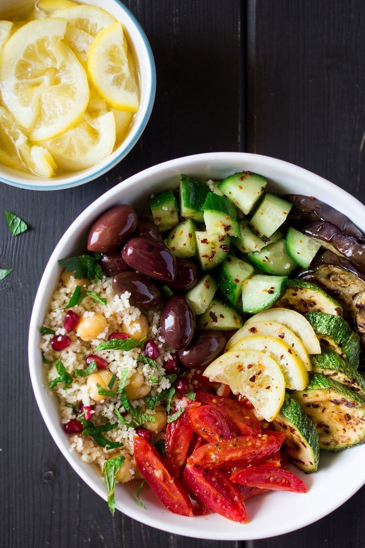 Moroccan salad bowl with preserved lemons