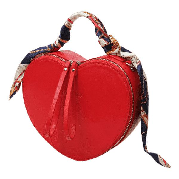 Scarf Heart Shaped PU Leather Handbag Red ($30) ❤ liked on Polyvore featuring bags, handbags, shoulder bags, red hand bags, heart handbag, heart shaped purse, heart purse and man bag