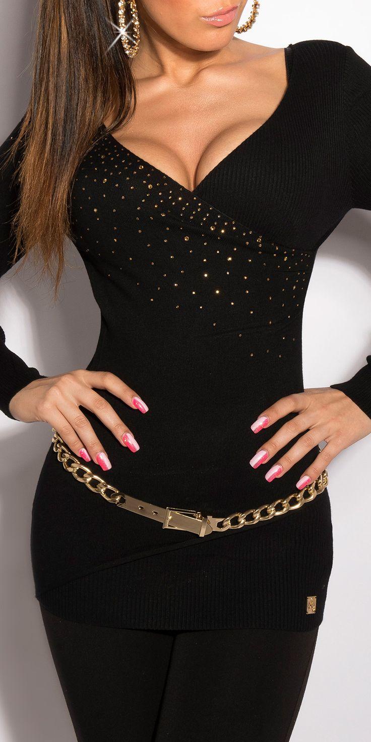Модель 0000ISF129128-1, удлиненный пуловер с глубоким V-образным вырезом, украшенным стразами. Цвет: черный, размер: 42-46 (один размер)