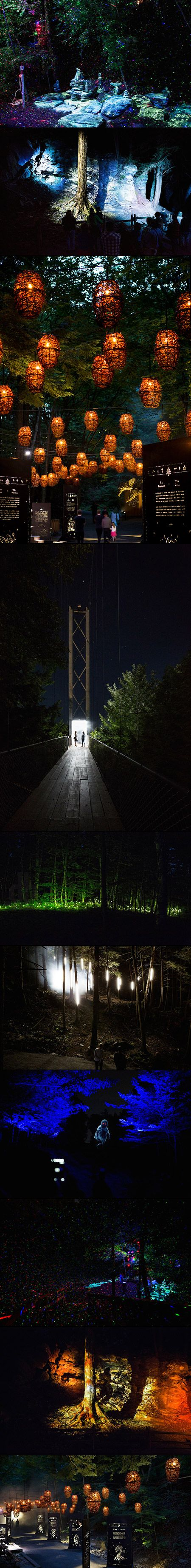 Montreal-based studio Moment Factory has transformed Quebec's Parc de la Gorge de Coaticook into Foresta Lumina, an illuminated nocturnal trail through the enchanted forest. After nightfall from now until mid-October, visitors to the park are invited to take a magical stroll through the woods on an immersive, storybook-like adventure.