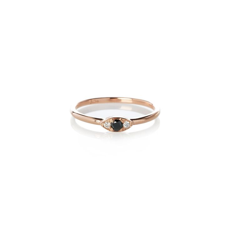 Dear Rae | Black Diamond Vue Ring | A mini trilogy diamond ring with a center 2.5mm brilliant cut black diamond, and two 1.5mm brilliant cut white diamonds set in 9ct rose gold.   #DearRae #DearRaeJewellery #DiamondRings #ColourDiamonds #EngagementRings #BlackDiamondRing #RoseGoldRings