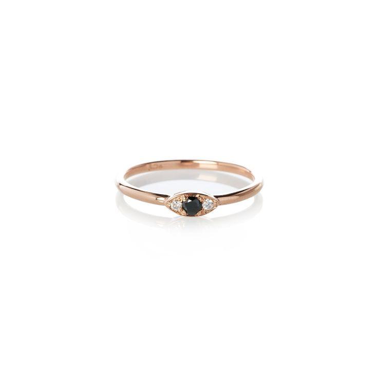 Dear Rae | Black Diamond Vue Ring | A mini trilogy diamond ring with a center 2.5mm brilliant cut black diamond, and two 1.5mm brilliant cut white diamonds set in 9ct rose gold.   #DearRae #DearRaeJewellery #DiamondRings #ColourDiamonds #EngagementRings #BlackDiamondRing #RoseGoldRings