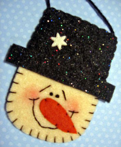 Darling felt snowman ornament.