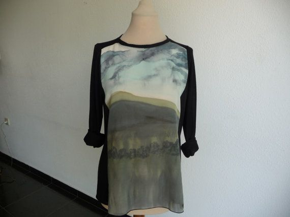 Black tunik blouse longsleevesgreen olive  by ArtTetisCollections, $55.00