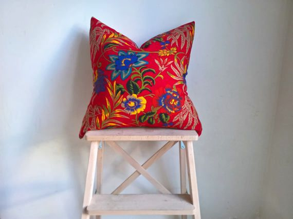 """Ready to ship 19"""" floral decorative pillow cover, throw pillow, spring themed cushion, couch, bedroom decor, yellow and purple flowers"""