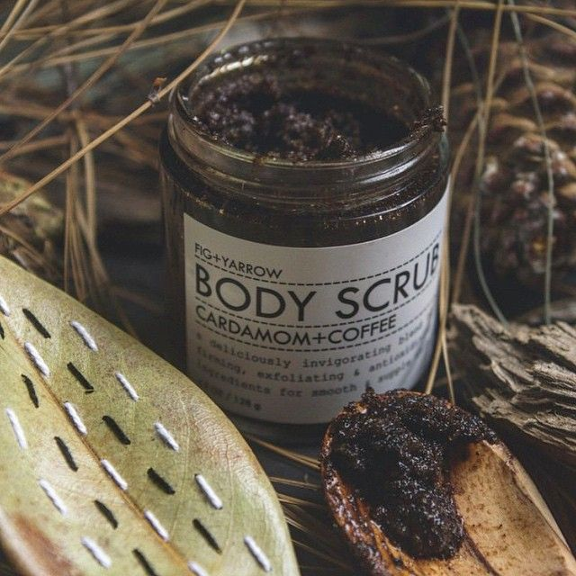 """""""Luxurious scent, great feel, perfectly smooth skin."""" –Oly Shamrik // Our all-natural CARDAMOM+COFFEE BODY SCRUB is like a wake-up call for tired, dull skin! Also on @HuffingtonPost's earth-friendly body scrub list!  #beauty #bodycare #artisanal #apothecary #smallbatch #organic #FIGandYARROW #regram from @tlvbirdie"""