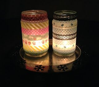 Washi tape candle jar