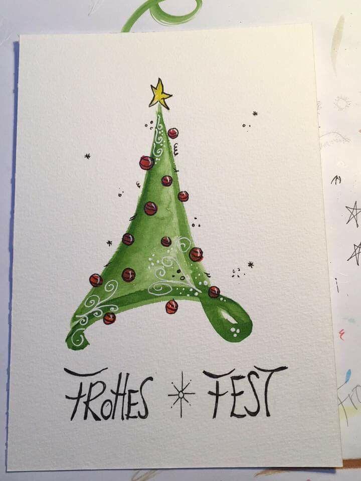 Weihnachtskarten Aquarellieren Geschenke Schon Verpacken