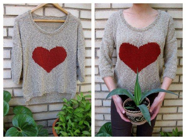 Patrón jersey con corazón por @El hogar de las lanas #knitting #gift #mothersday #handmade #Katiayarns