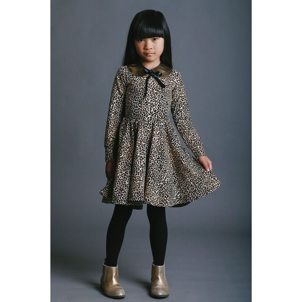 Chanel rocking the gold and leopard. Rock Your Kid AW15 Long sleeve leopard dress and gold collar (sold separately).