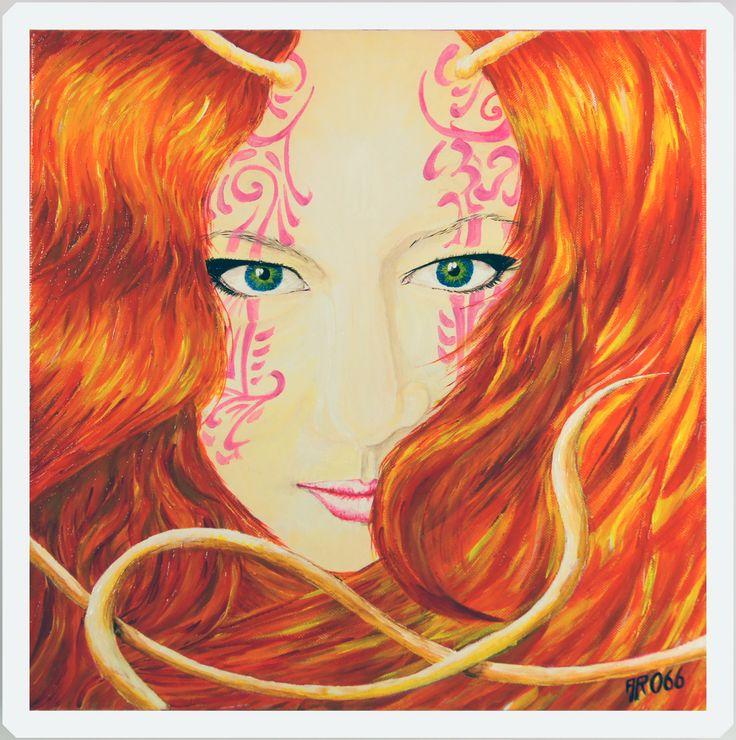 """""""Red"""" Acrylique sur toile, 40 x 40  par Jean-Yves ARO66"""