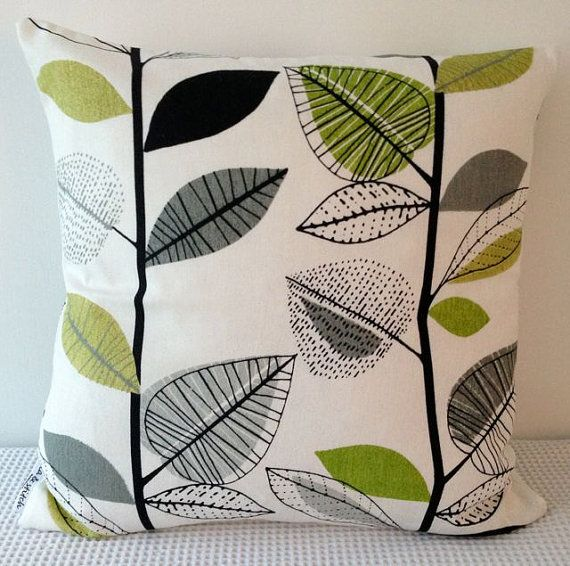 Retro autumn leaves in cream with detail in shades of green, grey and black cushion cover, slip cover, decorative cushion on Etsy, $25.00