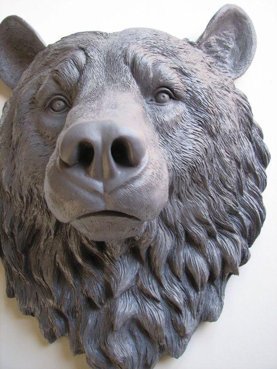 MED. GREY Faux Taxidermy Large Bear Head Wall by mahzerandvee