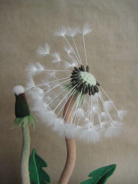 Needle felted dandelion Nature home decor interior Plant decor Collectible plant