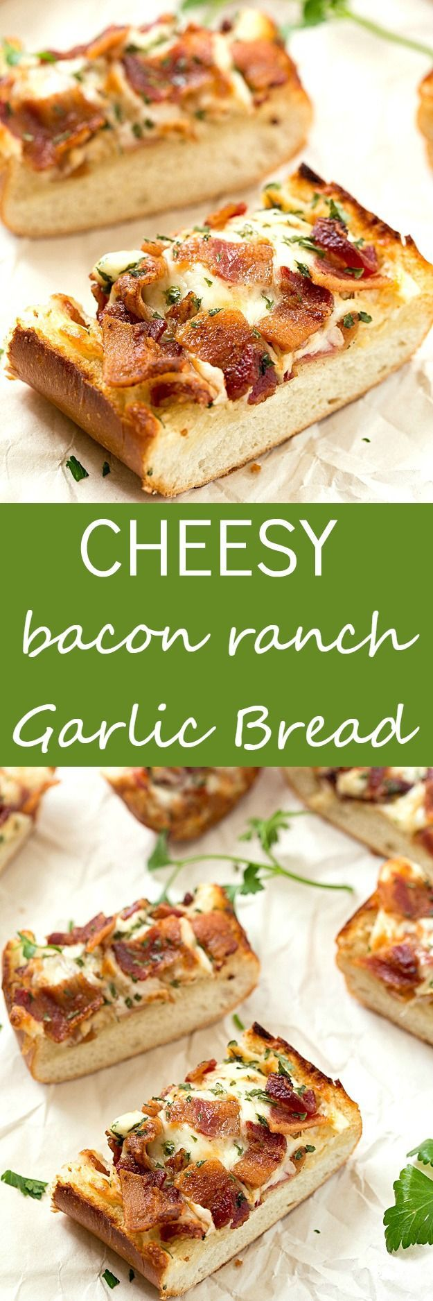 Cheesy Bacon Ranch Garlic Bread - Not just another cheesy garlic bread recipe! This bread is fantastic, and we were able to stop eating it! With a few changes, you can have homemade, and this easy garlic bread is taken to a whole new level! The best garlic spread with the addition of ranch seasoning!