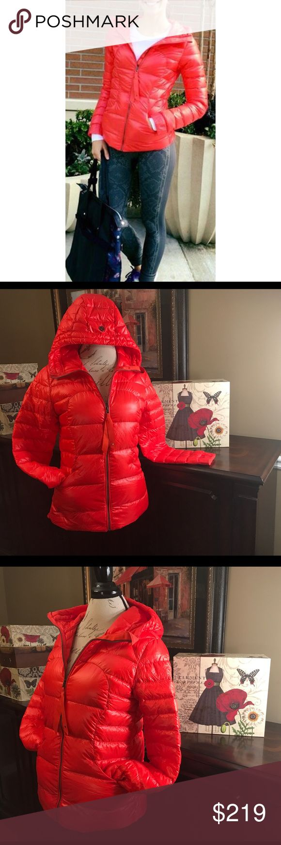 Lululemon Fluffin Awesome Jacket-Alarming, Size 8 Lululemon Fluffin Awesome Puffer Jacket-Alarming, Size 8  I do not trade.  It's fluffy. It's vibrant red. It's awesome. 😁 What more do you need? This rare Lulu find would be great worn casually with jeans or with shorts/leggings for your workout. Release date, September 2015. Except for a small faint 1/4 inch round spot on one sleeve, this is in great condition! ☺   Length-25 inches in front, 26 inches in back  Bust-38 inches (19 inches…