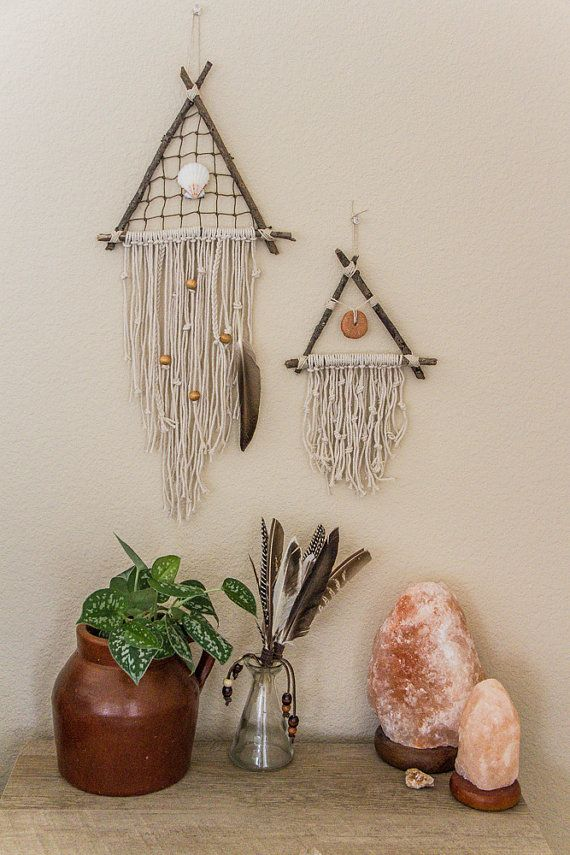 Shell Triangle Dreamcatcher Feather Wall Hanging by DayCrafter