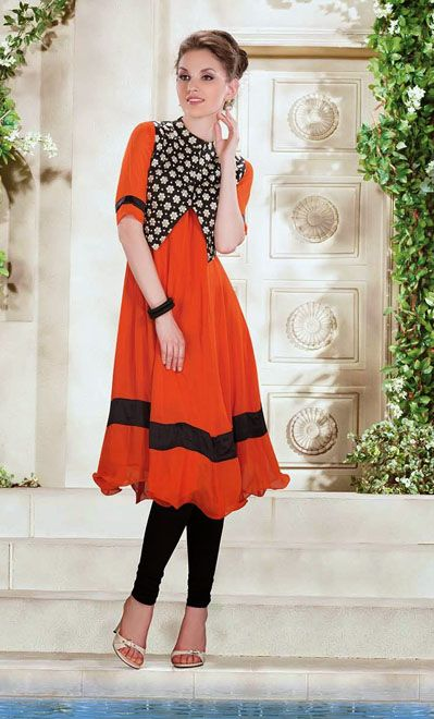 USD 61.66 Orange Designer Readymade Kurti    34977