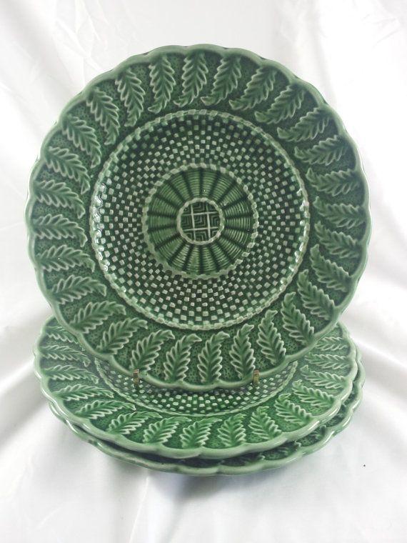 Bordallo Pinheiro Basketweave Majolica Plates Green by acornabbey & 159 best Bordallo Pinheiro u0026 Cabbage Dishes images on Pinterest ...