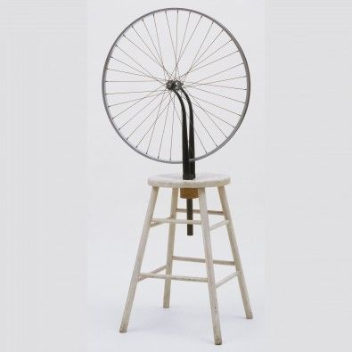Bicycle Wheel: Dada artist Marcel Duchamp created his 'Readymades' as an alternative to representing objects in paint. He chose commercial objects to designate as art, titling them and displaying them in the same way of traditional works. MoMA, conceptual art, gallery, art history, contemporary, objects, blog post, Maxine Snider Inc.