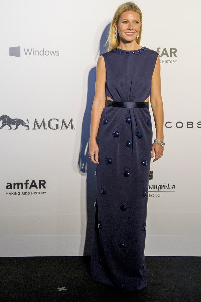 Gwyneth Paltrow dons Marc Jacobs on the red carpet during the 2015 amfAR Hong Kong gala at Shaw Studios on March 14, 2015 in Hong Kong.