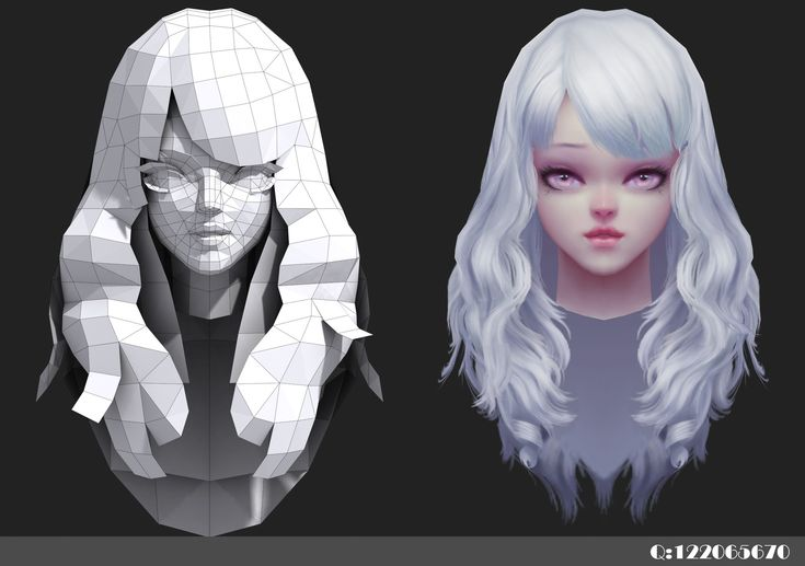 girl head, LIHUA ZHANG on ArtStation at https://www.artstation.com/artwork/LJO9R