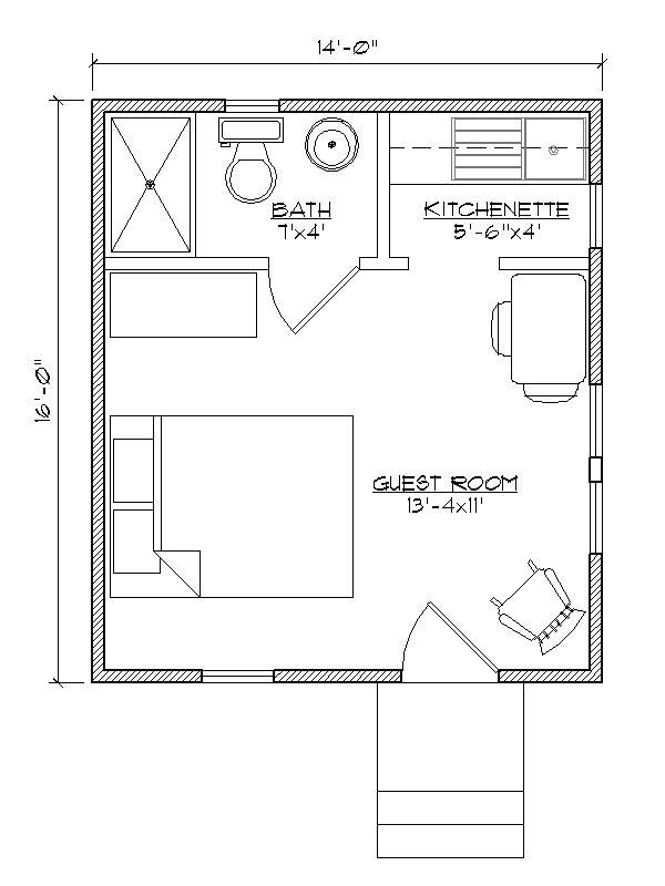 Small house plan for outside guest house.  Make that a Murphy bed with bookcases built in on either side and it would be awesome.