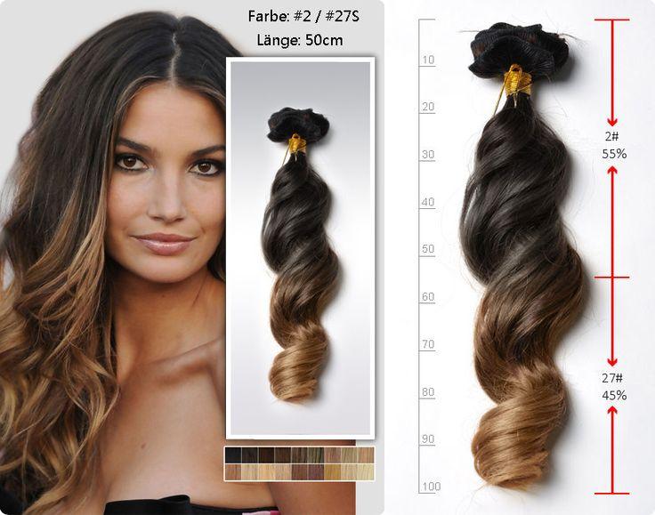 50cm sexy two tone Ombre Hair Echthaar Extensions Clips gewellt